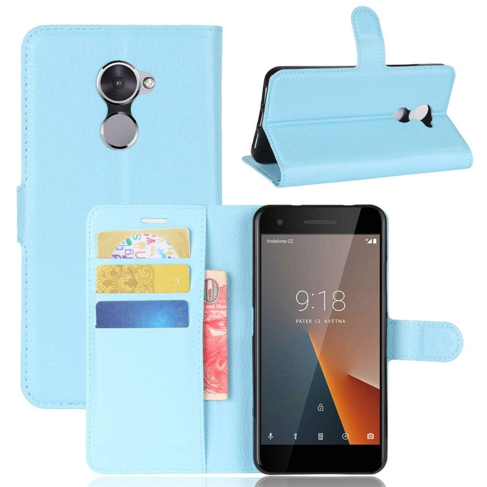 Guran® Funda de Cuero PU Para Vodafone Smart V8 Smartphone Función de Soporte con Ranura para Tarjetas Flip Case Cover Caso-azul