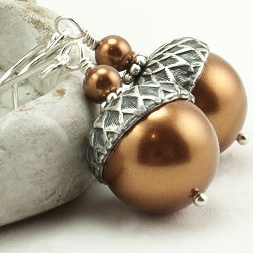 Amazoncom Copper Acorn Earrings Acorn Jewelry Winter Wedding