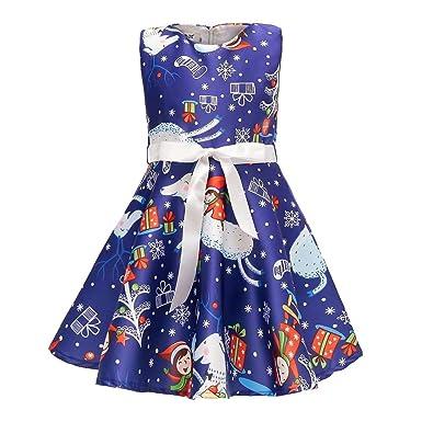 Vestiti Eleganti Bimba 7 Anni.Sumtter Vestito Natale Bimba Babbo Stampato Abito Bambina