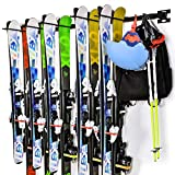 Ski Storage Rack Snowboard Wall Mount Storage Rack, Hold 10 Pairs of Skis, Customizable Home and Garage Storage Mount System, Heavy Duty Steel, Black