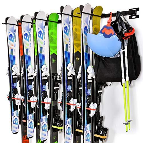 Ikkle Porte-Skis Support Rangement de Ski Mural Amovible et Assemblage Flexible pour 10 Paires de Skis Snowboard Balais Râteaux pour Le Rangement de Maison Garage, Noir