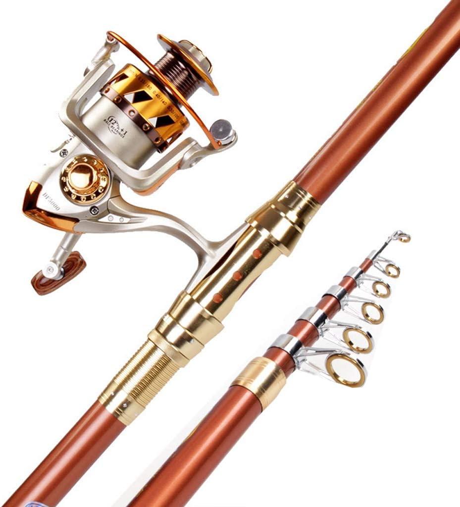 Peso Ultraligero Fibra Alta en Carbono Fishing rods Ca/ñas de Pescar ca/ña de Pescar mar n/áutico Necesario lanzadera Champagne Gold @Greawei
