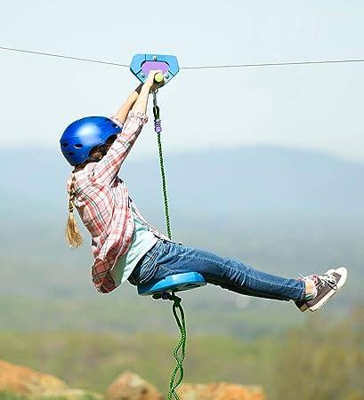 Zip Line Seat >> Amazon Com Hearthsong 150 Foot Blue Zipline Kit For Kids