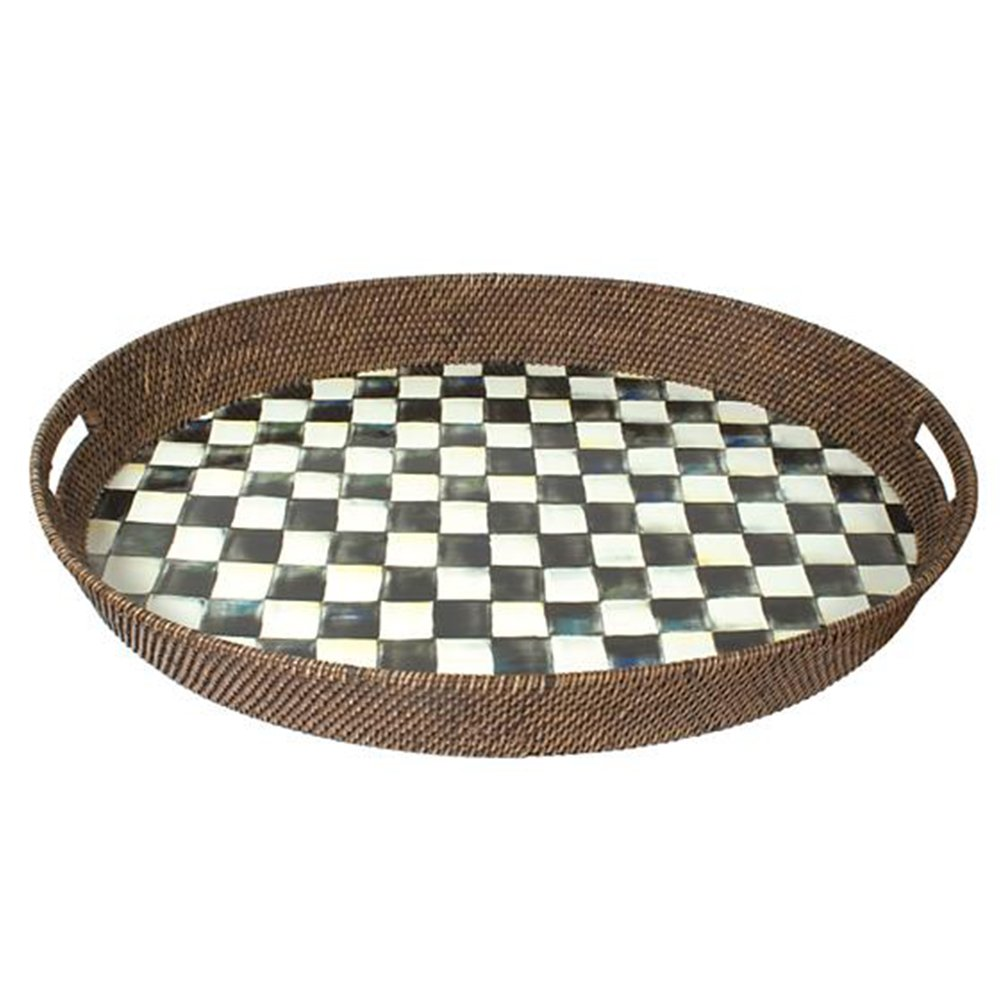 MacKenzie-Childs Courtly Check Rattan & Enamel Party Tray