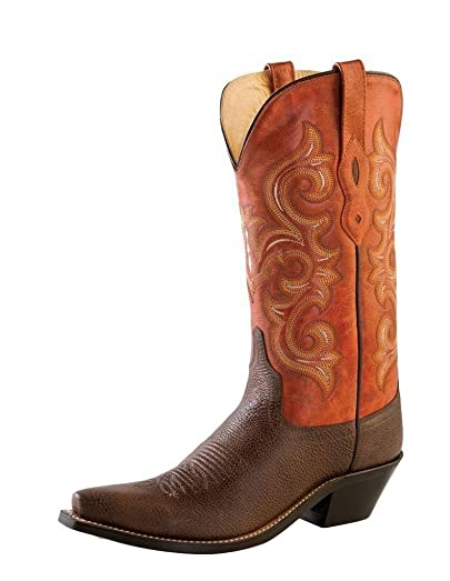 Women's and Orange Western Boot Snip Toe - Lf1543