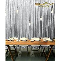 ShiDianYi Sparkly Shimmer Sequin Photography Backdrop, 10-Feet-by-10-Feet, Silver