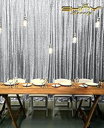 Amazon.com: 10FTx12FT Sparkly Silver Shimmer Sequin Fabric ...