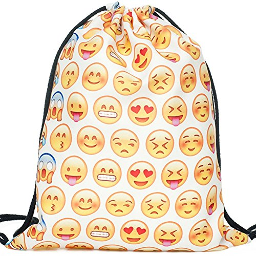 Cheap Drawstring Backpack for Traveling or Shopping Casual Daypacks School Bags (Emoji-w)