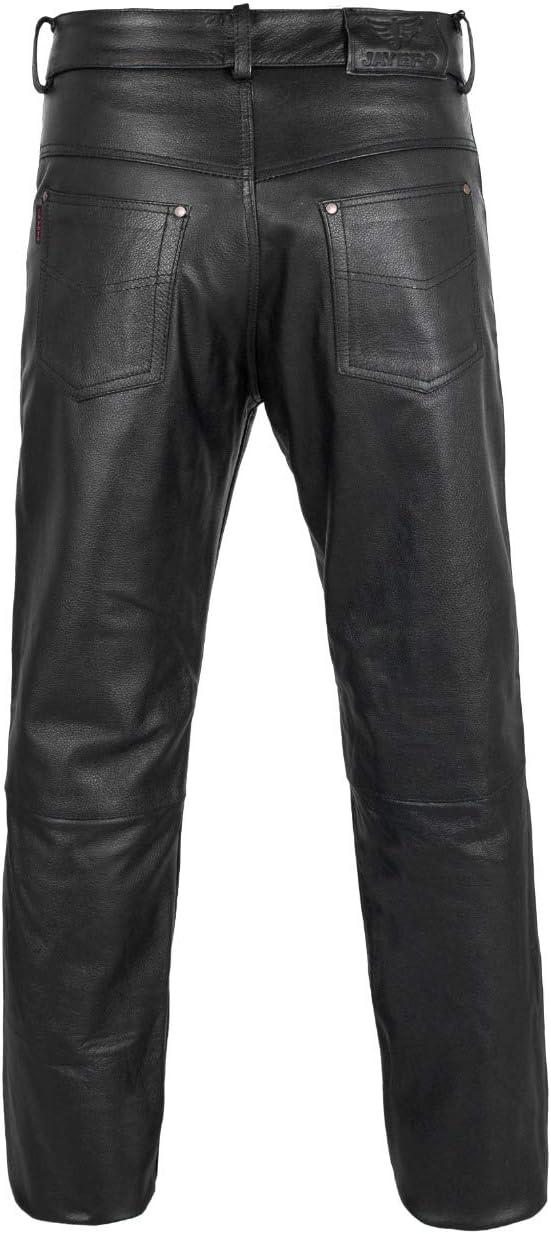 BLACK, WAIST//32 JAYEFO LEATHER MOTORCYCLE PANT