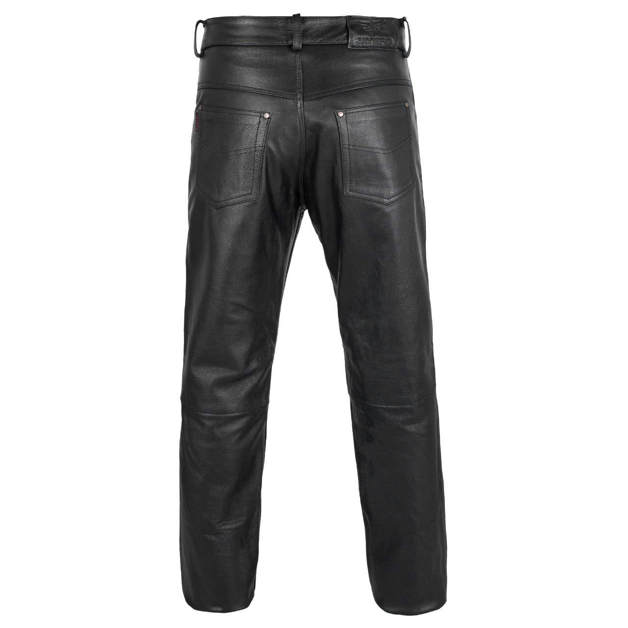 JAYEFO LEATHER MOTORCYCLE PANT BLACK, WAIST//30