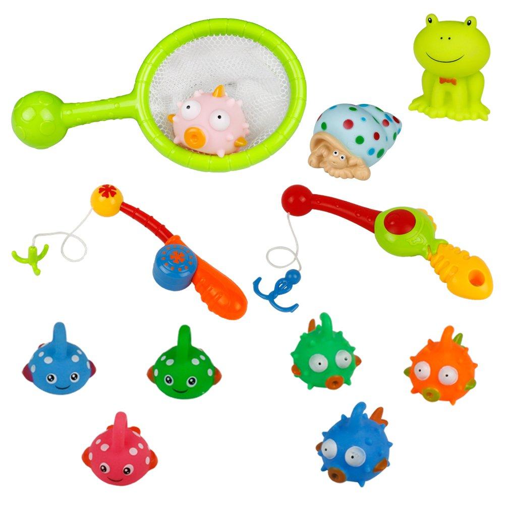TONZE Bath Toys Set Fishing Game Bathtub Time Floating Bath Toy Bathtime toys Funny Game Kids 18 Months+