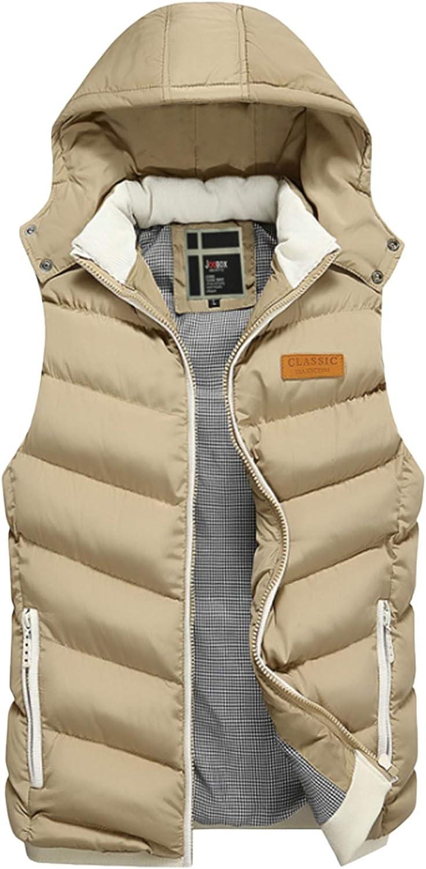 Bestgift Mens Removable Hood Zipper Thick Warm Puffer Vest