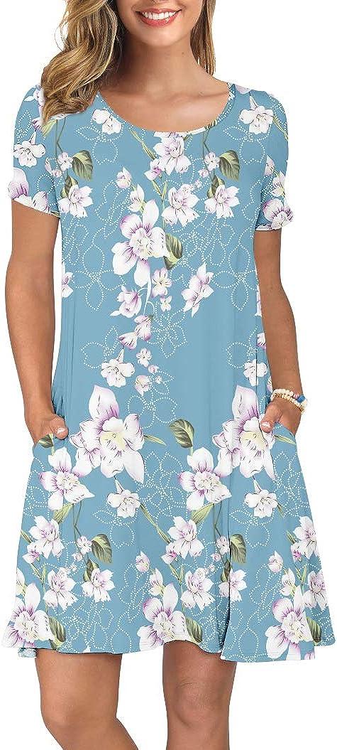 KORSIS Women's Summer Casual T Shirt Dresses Short Sleeve Swing Dress Pockets