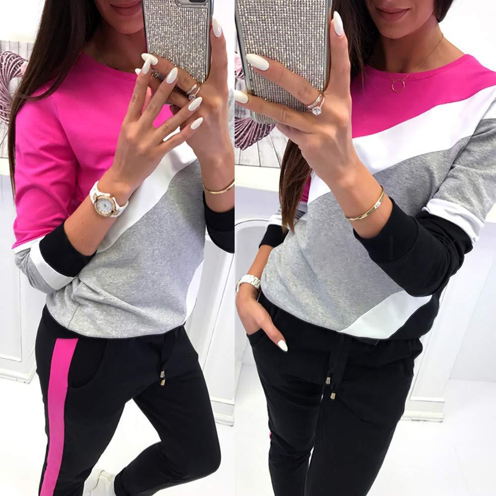 Manadlian Damen Langarm Tops V-Ausschnitt Lose Oversize Lang Sweatshirt Pullover Frau Splei/ßen Farbe Gestreift Langarm Oberteile Bluse Hemd