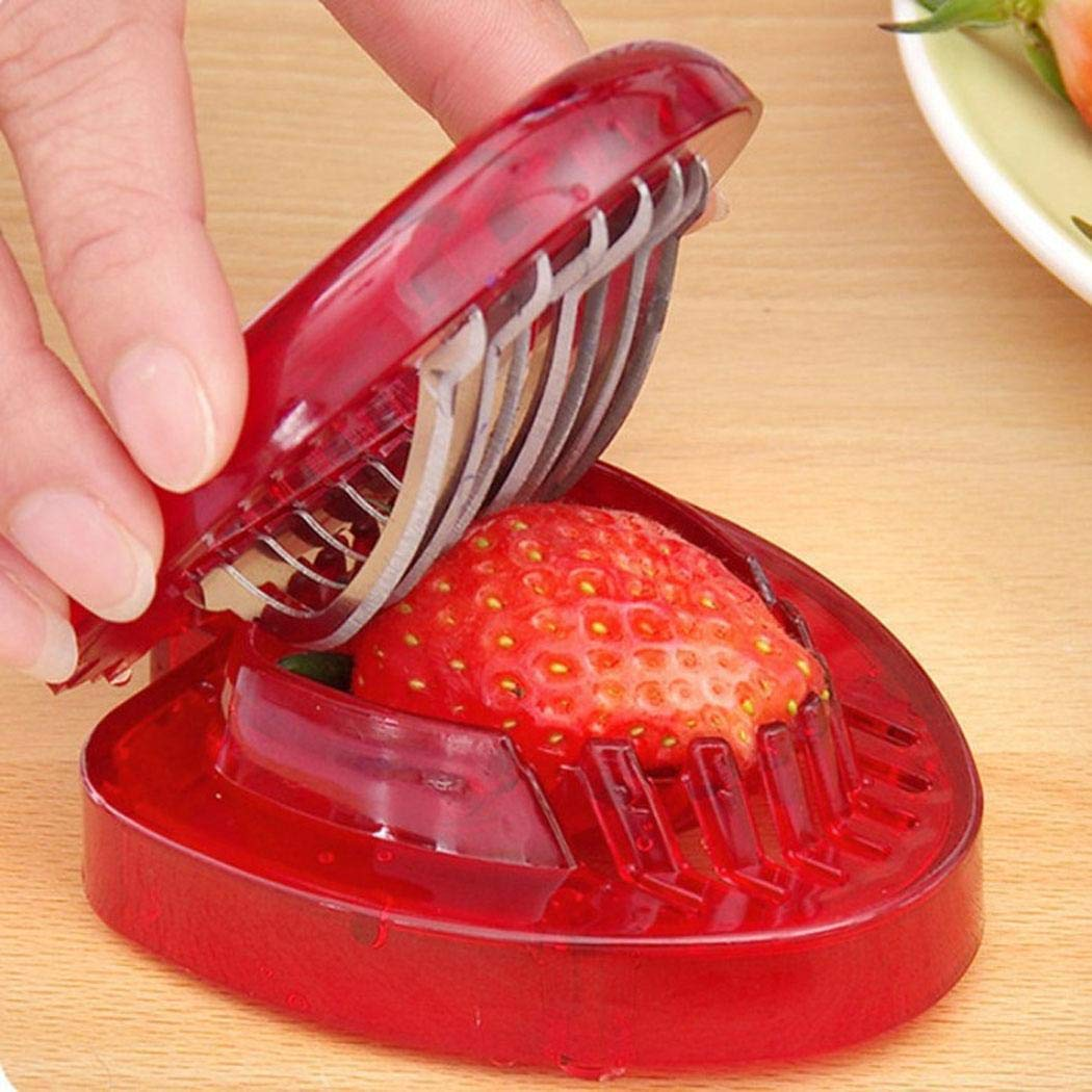Piokikio Mini Strawberry Slicer Craft Fruit Cutter Gadgets Kitchen Tool with Stainless Steel Blades