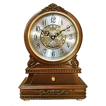 Family Fireplace Clocks Wooden Desk Clock, Silent Tablecloth Clock Ticking with CAJ ó n Bedroom