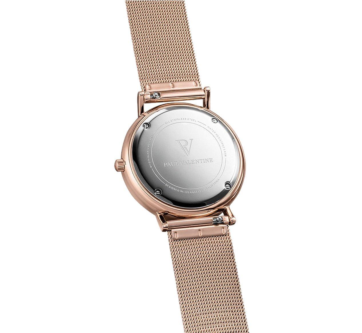 Reloj de pulsera Paul Valentine | Esfera Seashell de color oro rosa | Reloj para mujer con un diseño elegante y atemporal. Pulsera de alta calidad y acabado ...