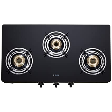 Elica Vetro Glass Top 3 Burner Gas Stove (703 CT VETRO BLK)