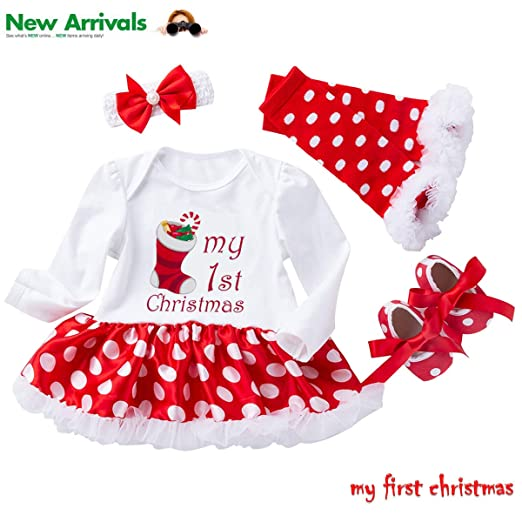 8665fab2c3c6 Christmas Outfits Baby Girls - 4PCS First Xmas Onesie Romper Tutu Dress  Headband Sets Gifts (