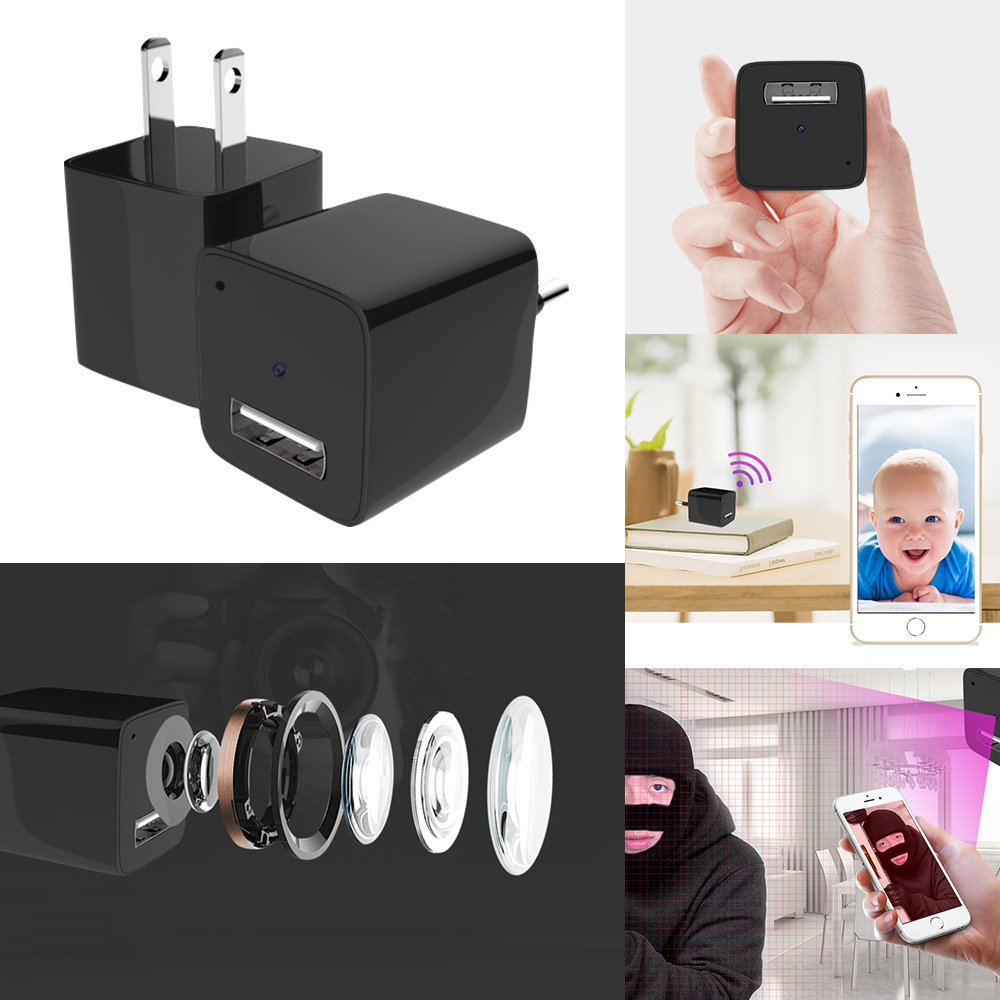 """Bundle 7 items- """"The Ultimate USB Wall Charger Hidden Camera Kit"""": 2 USB Hidden Cameras I Day & Night Vision I Wifi I SD Compatible w/ (2) 32G Micro SD Cards + 1 Micro USB Adaptor + 1 Reset Tool"""