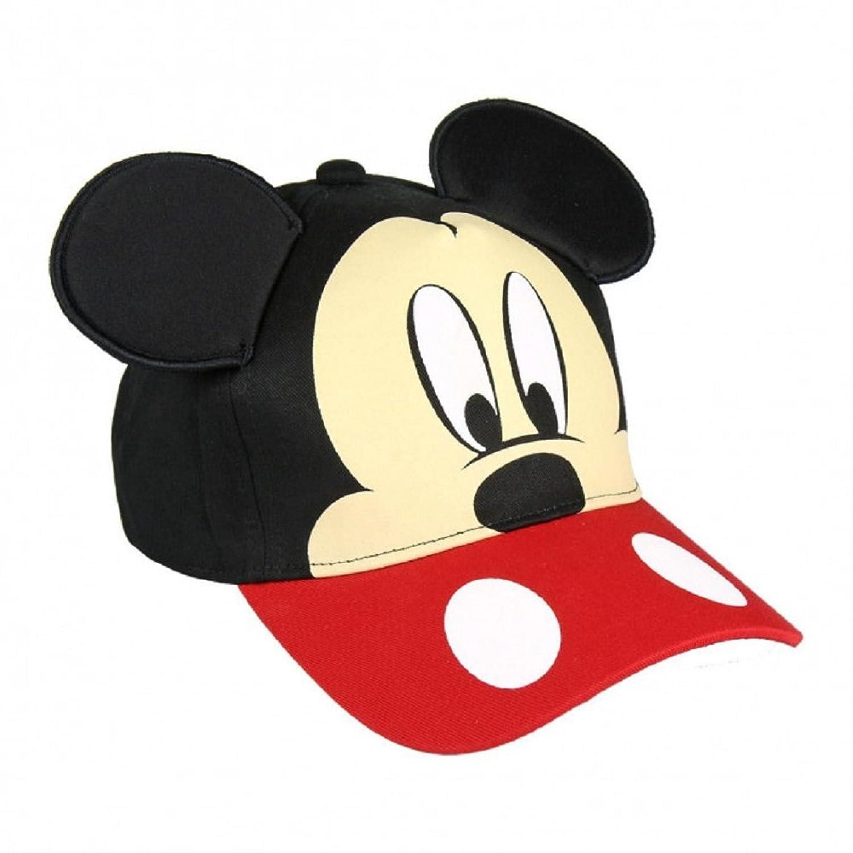 Mickey Mouse Gorra para niño Premium color Negro y Rojo con orejas +  pegatinas de regalo b9e2595adbc
