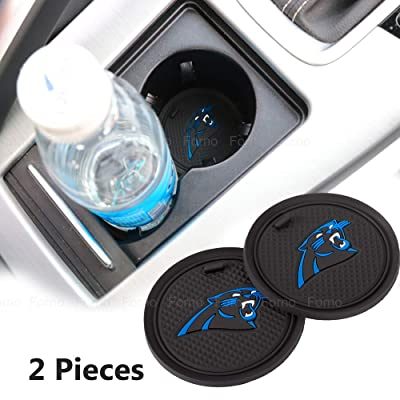2 Pack 2.75 inch for Carolina Panthers Car Interior Accessories Anti Slip Cup Mat for All Vehicles (Carolina Panthers): Automotive