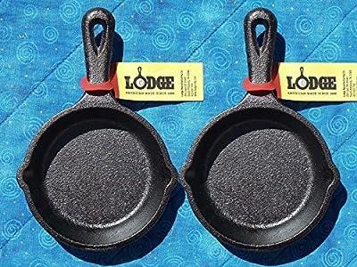 4 Lodge LMS3 3.5 inch Cast Iron Mini Skillet / Spoon Rest / Ashtray Pre-Seasoned
