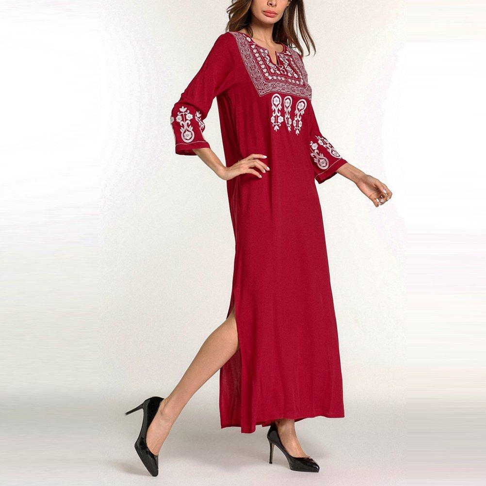 c7cd87bd67e7 Zhhlinyuan Señoras Modernas Kaftans Ropa de Dormir de Algodón de Manga  Larga Camisón Camisón Abaya Vestidos para Mujeres Dubai