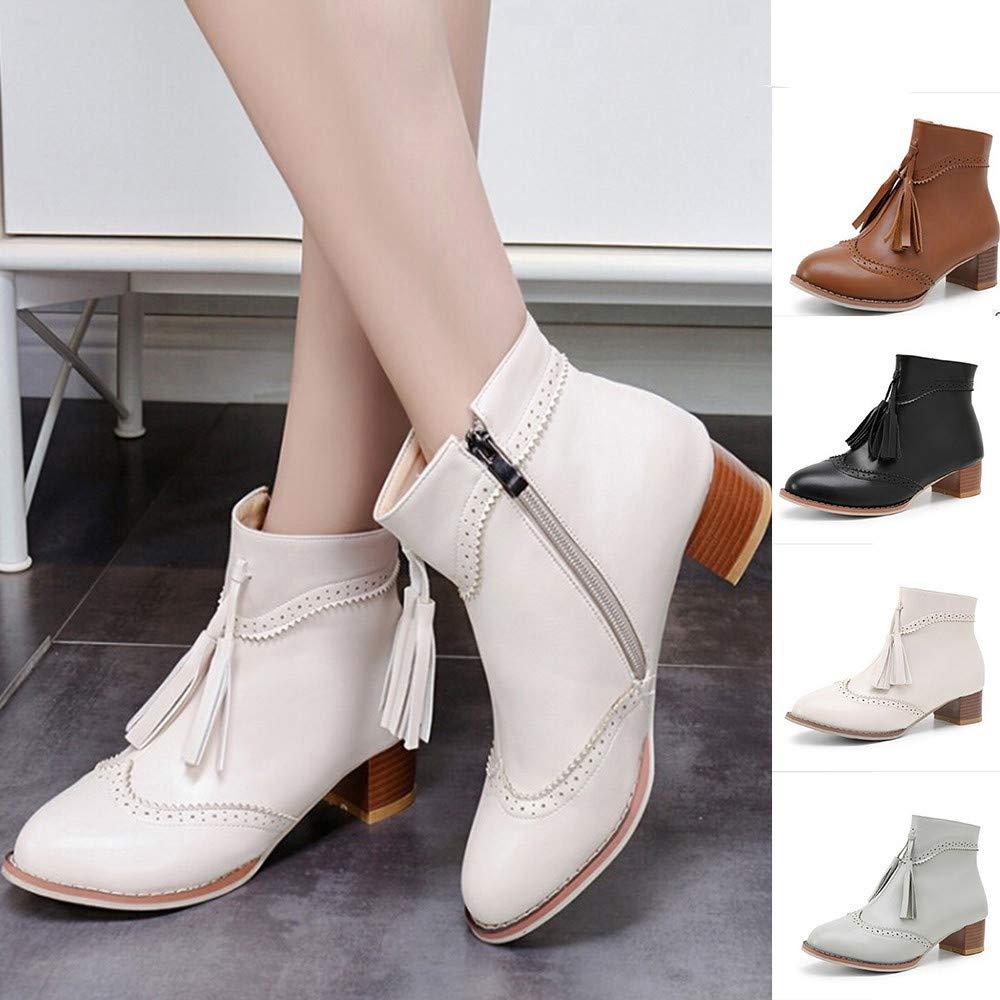 Women Tassel Boots NDGDA Retro Anti-Slip Zipper Square Middle Heel Shoes