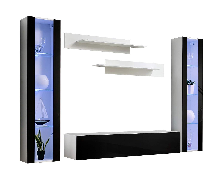 Conjunto Muebles de salón Nora Blanco Negro Modelo B2 con ...