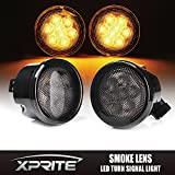 Xprite LED Yellow Front Replacement Turn Signal Light Assembly with Smoke Lens for 2007 - 2017 Jeep Wrangler