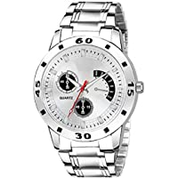 TIMESOON Stainless Steel White Dial Analogue Mens Watch