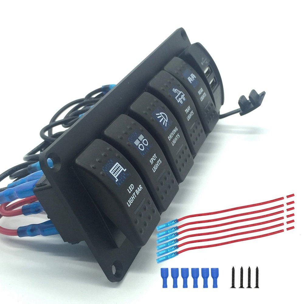 IZTOSS Boat Rocker Switch Panel 6 Gang Car RV Marine Rocker Switches With 3.1A Dual USB Charger 12V 24V Blue LED Light
