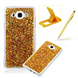 Rubber TPU Case For Samsung Galaxy J5 2016,Herzzer Slim Lightweight Color Changing Glittering Luxury Unique [Red Sequins] Bling Shiny Sparkle Soft Silicone Gel Clear Bumper Frame Cover for Samsung Galaxy J5 2016