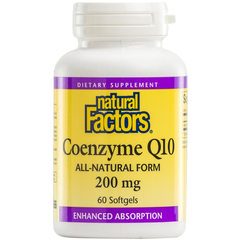 Natural Factors - Coenzyme Q10 200mg, Antioxidant Support with Enhanced Absorption, 60 Soft Gels