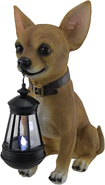 Details about  /Pug Dog Teacup Blue Cup Outdoor lighted statue stake LED path SOLAR light lamp