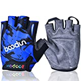 Mifulgoo Boy Girl Child Children Kid Lycra Padded Half Finger Fingerless Short Gloves Mitt Mitten for Cycling MTB Exercise Skate Skateboard Roller Skating (Blue, M)