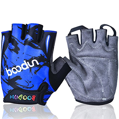 MIFULGOO BDHGF-H Boy Girl Child Children Kid Half Finger Fingerless Short Gloves for Cycling Skate Skateboard Roller Skating (Blue, L)