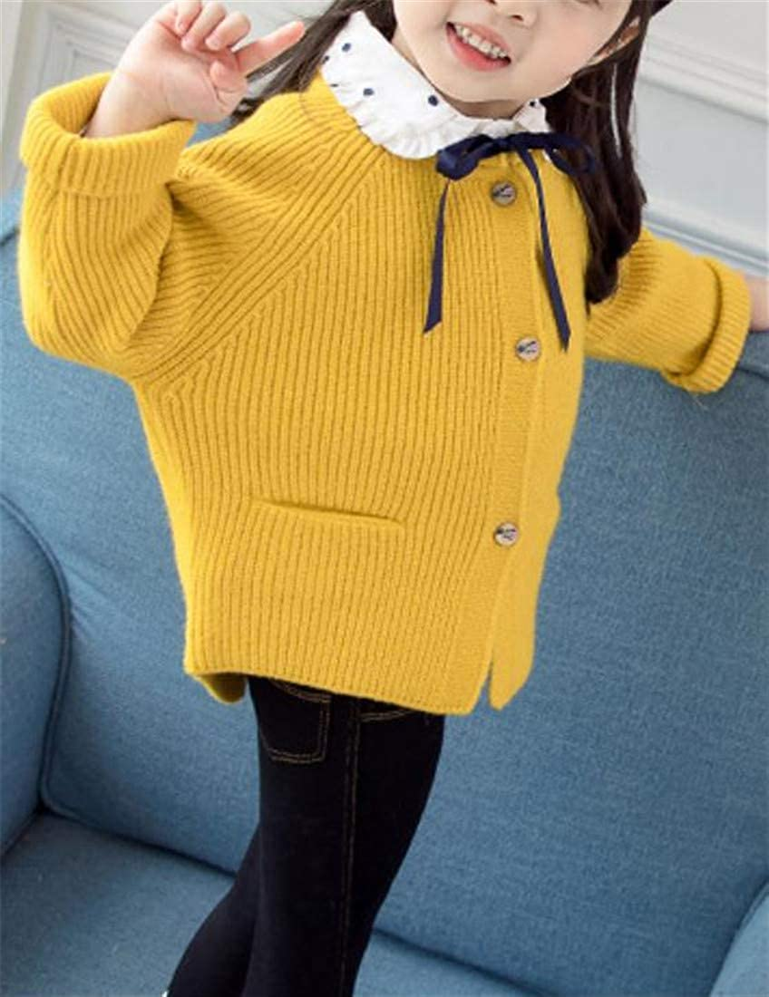 Lutratocro Girls Open Front Pure Color Button-Down Autumn Knit Sweater Cardigan