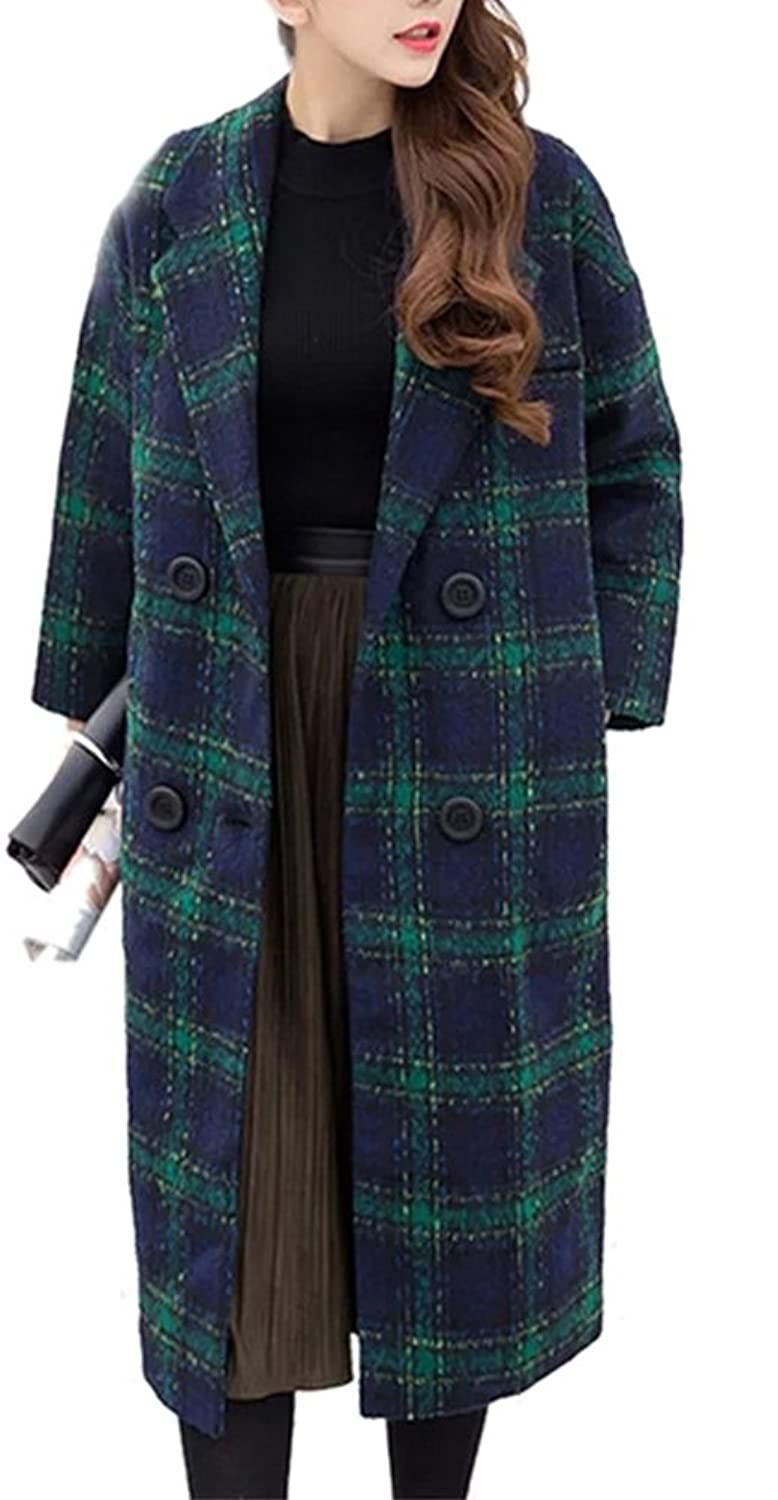 Allbebe Women's Street Notched Collar Double Breasted Grid Warm Long Wool Coat