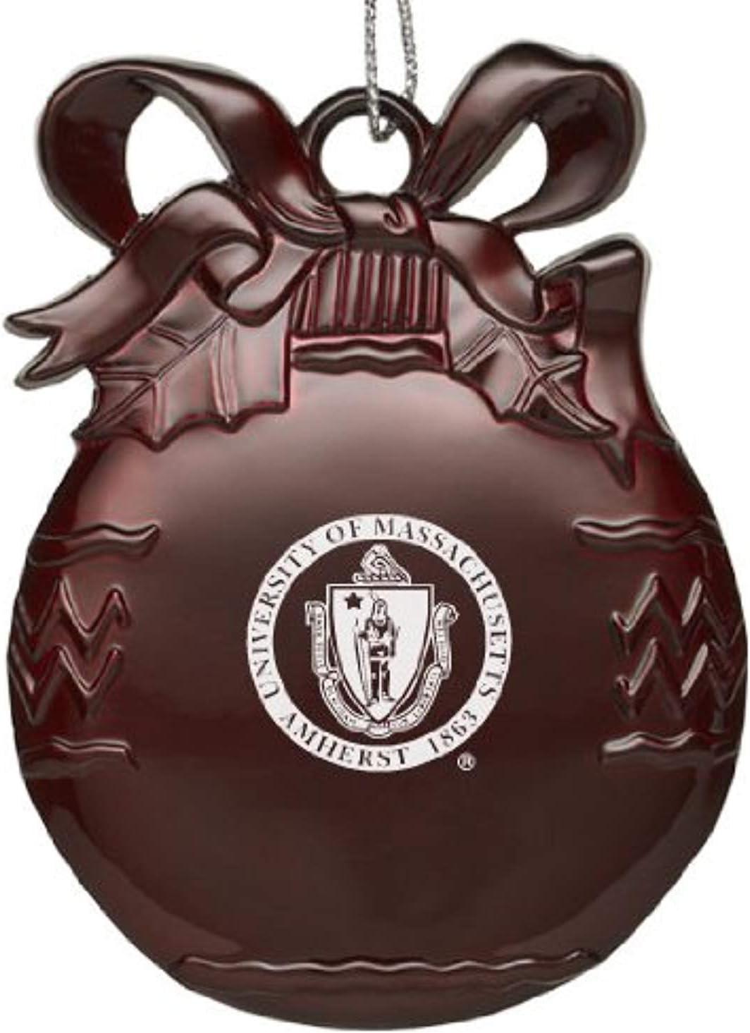 LXG University of Massachusetts - Amherst - Pewter Christmas Tree Ornament - Burgundy