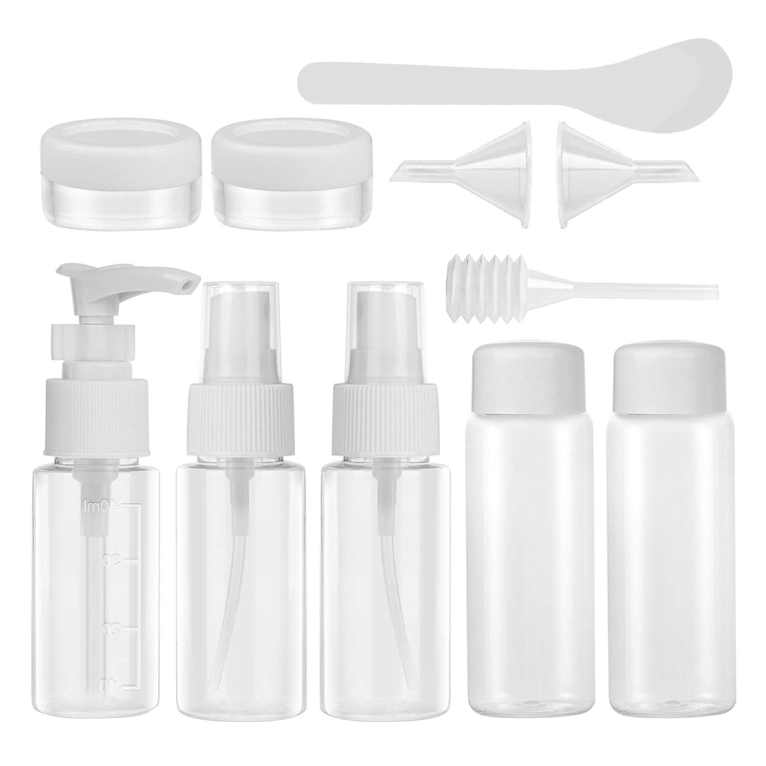 Travel Bottles Set, Aival 11 Pieces Air Travel Bottles Toiletries Liquid Dispensing Tubes Containers Set BPA Free Refillable Leakproof for Liquid Cream Shampoo Perfume, Cosmetic Make-up, etc.