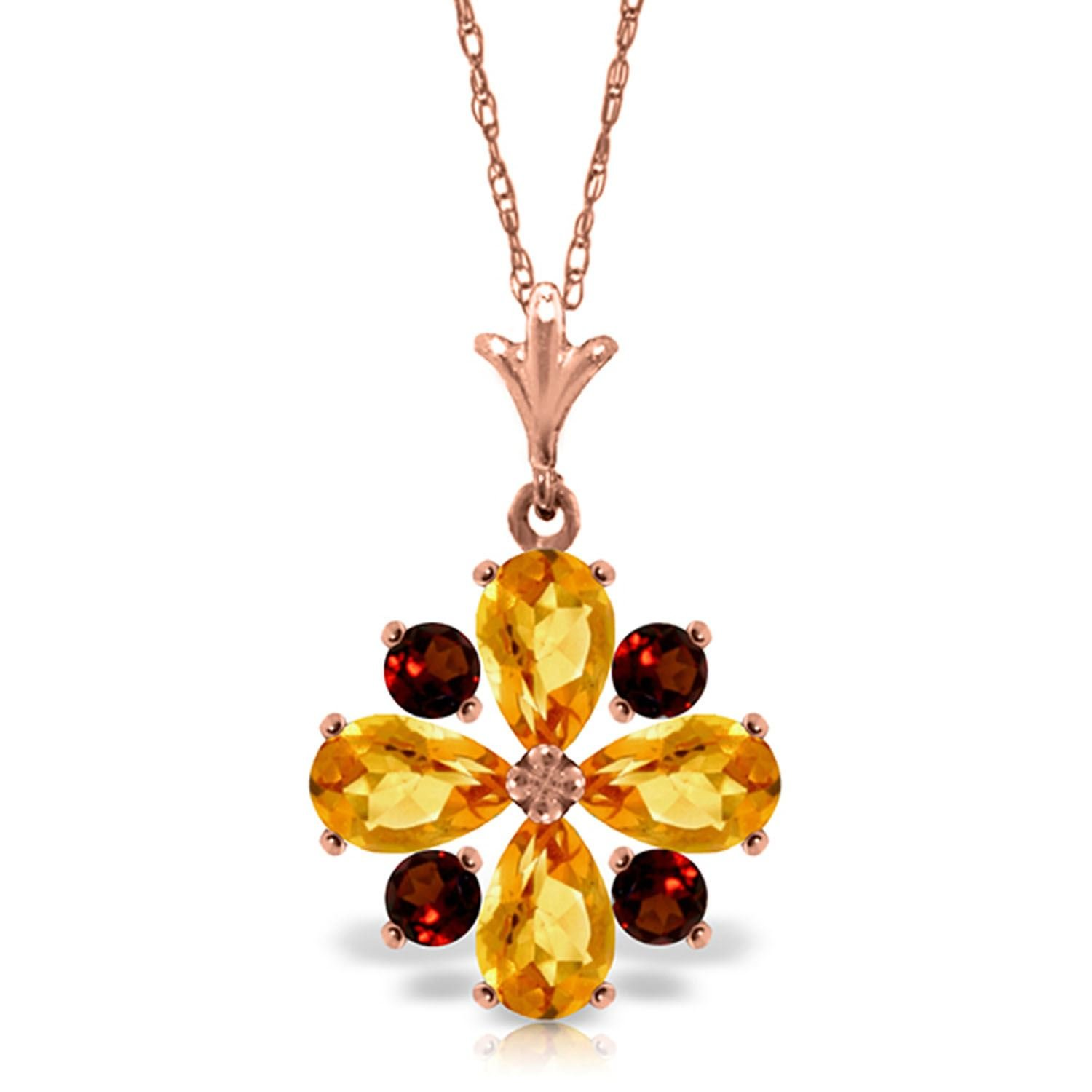 ALARRI 2.43 Carat 14K Solid Rose Gold Passion Citrine Garnet Necklace with 20 Inch Chain Length