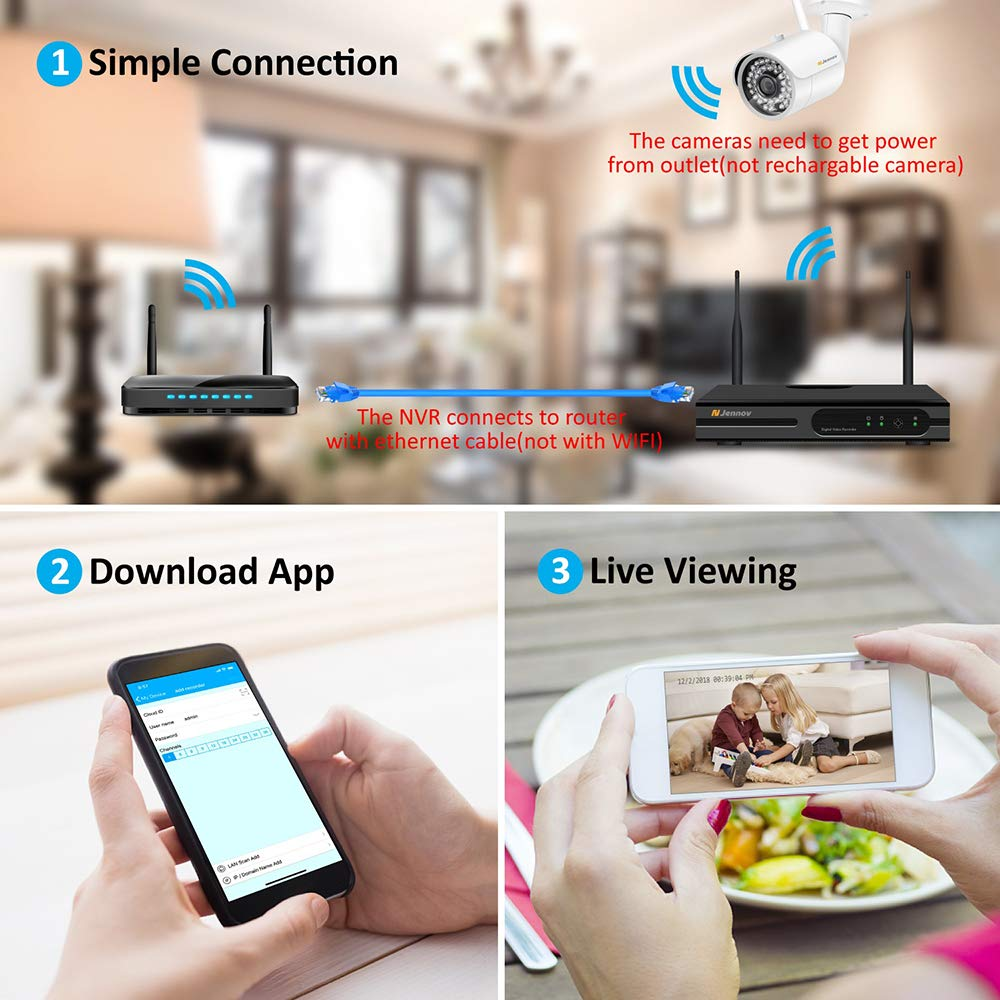 【Newest Strong WiFi Arrival】Jennov Security Camera System Outdoor Wireless 4 Channel HD 1080P WiFi Home IP Video Surveillance Night Vision NVR Kit With Pre-installed 1TB Hard Drive Free Remote Access by Jennov (Image #5)