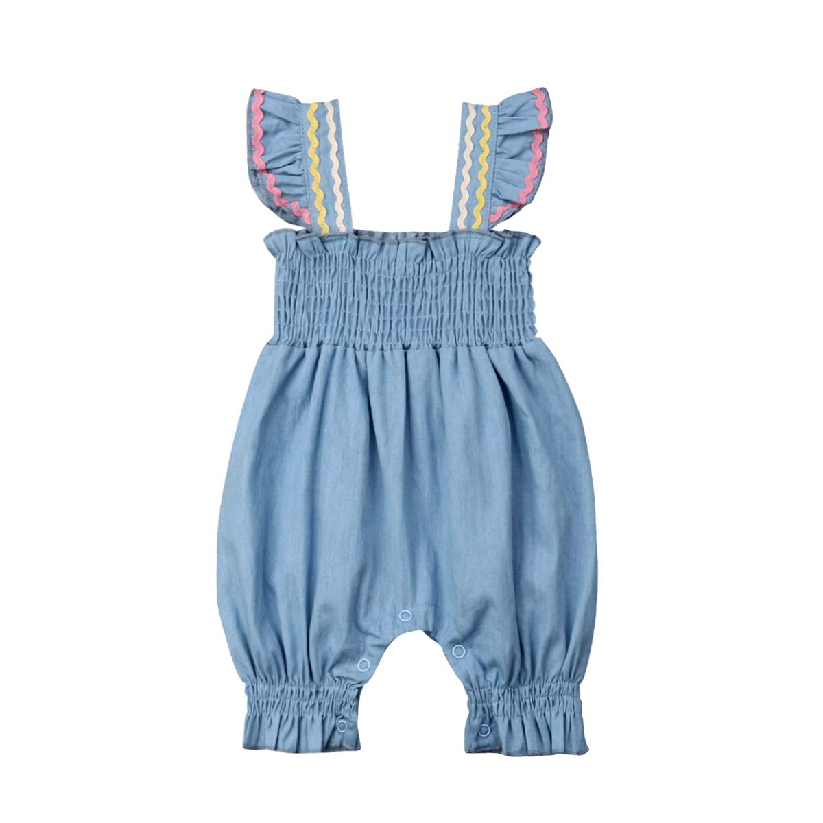 Baby Girls Romper Halter Sleeve Bodysuit Flexible Jumpsuit Summer Clothes Outfits Sunsuit 0-18M