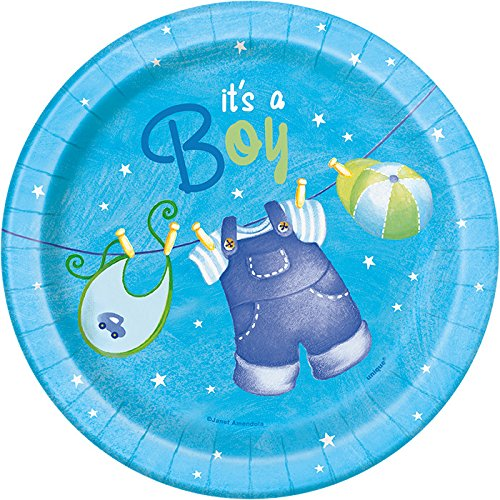 It's a Boy Baby Shower Blue Clothesline Dessert Plates (Clothesline Baby Shower)