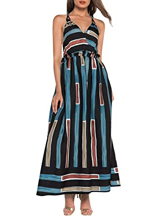 3b5734237f8 Simplee Women s Dress Open Back V Neckline Spaghetti Straps Sleeveless Maxi Striped  Dress Black