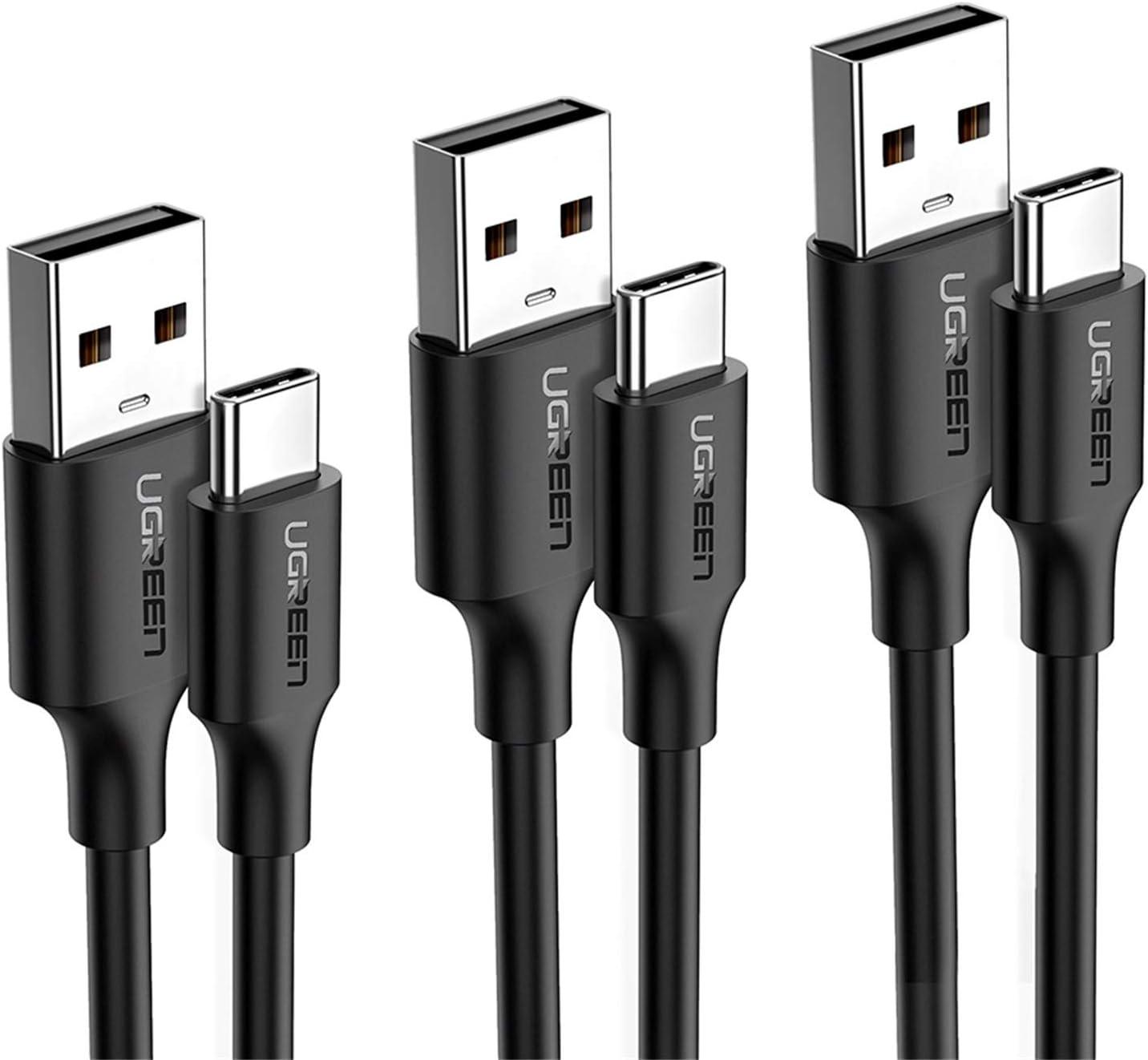 UGREEN Cable USB Tipo C, 0,5M+1M+2M(3 Pack) 3A Cargador Tipo C PVC Carga Rápida y Sincronización Cable USB C para Xiaomi Redmi Note 8, Mi 9, Mi A2 Lite, Samsung A50, Airpods New, iPad Pro 2018, 2020