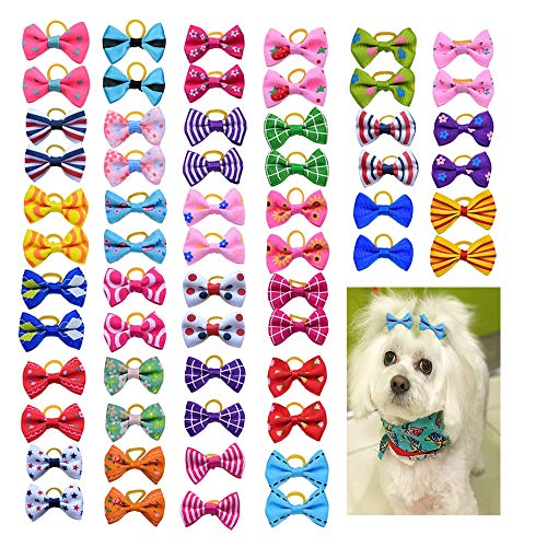 80pcs Pet Dog Bows Dog Hair Grooming Accessories