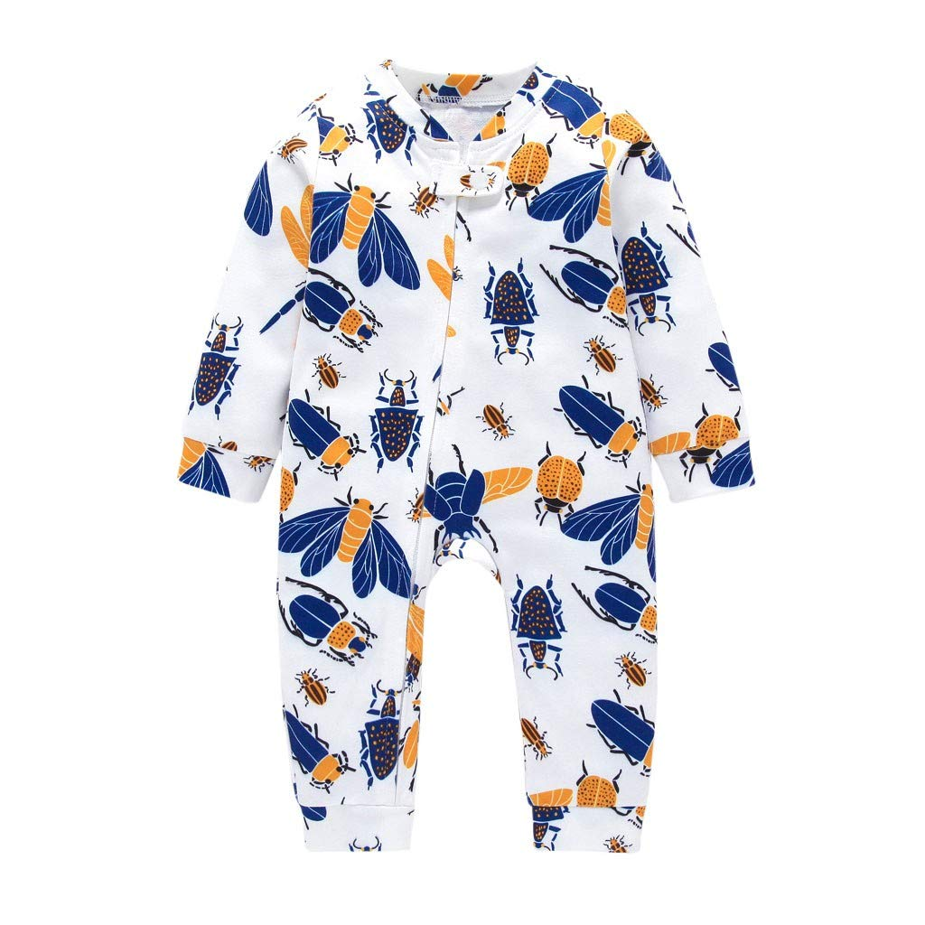 LIKESIDE Toddler Baby Long Sleeved Cartoon Insect Zipper Romper Jumpsuit Clothes